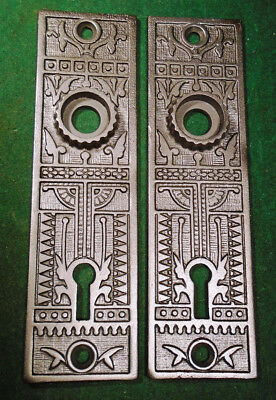 Pair Vintage Sargent Cast Iron Eastlake Backplates     (4252-3)