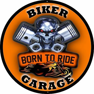 "Biker Garage - Born To Ride - Motorcycle Sign - 24"" Diameter Aluminum Sign"