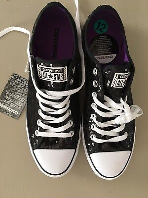 Converse All Star Size 12 Women's BLACK Sequin Low Top Sneakers