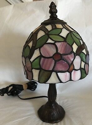"Tiffany Style Stained Glass Floral Lighting Small Table Desk Lamp 12"" Flowers"