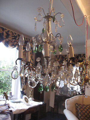 Rare Vintage Good Glass Stem 6 Branch Chandelier With Green Drops French /3991