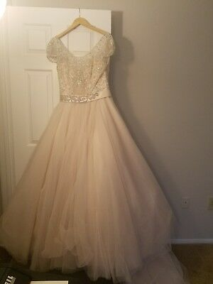 Allure, champagne wedding dress, ball gown, size 16, good condition