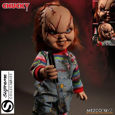 """Childs Play 15"""" Talking Chucky Good Guy With Scars Action Figure W/sound Mezco"""
