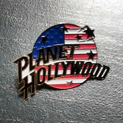 """Planet Hollywood 1"""" USA Patriotic Flag Pin Very RARE collectible Unusual Style"""