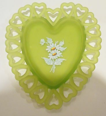 Vtg Painted Daisy Heart Lime Green Depression Glass Dish Plate Satin Frosted