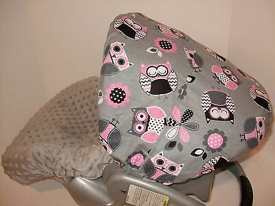 CUTIE OWLS MINKY INFANT CAR SEAT SLIP COVER Graco Fit Custom Sizes Available