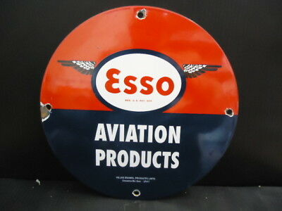 Vintage Esso Gasoline Porcelain Gas Service Station Pump Sign (Dated 1947)