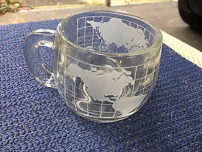 VINTAGE NESCAFE WORLD Etched GLASS MUGS CUPS GLOBE TEA Many Available