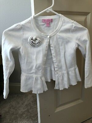 Lilly Pulitzer White Sparkle Girls Cardigan Sweater W/Flower Youth Size M (6-8)