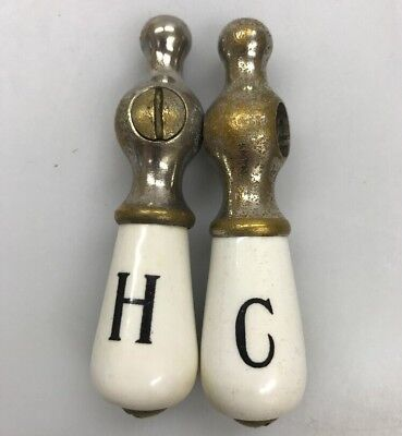 Antique Vintage White Porcelain Cold & Hot Sink Faucet Handles Plumbing