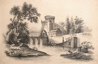 Original Antique LANDSCAPE DRAWING pencil, British 19th century river scene 1833