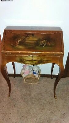 Antique French Slant Top Ladys Desk Hand Painted