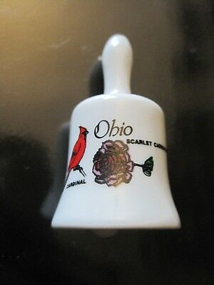 Ohio Souvenir State Collectible Mini Porcelain Bell with Cardinal & Carnation