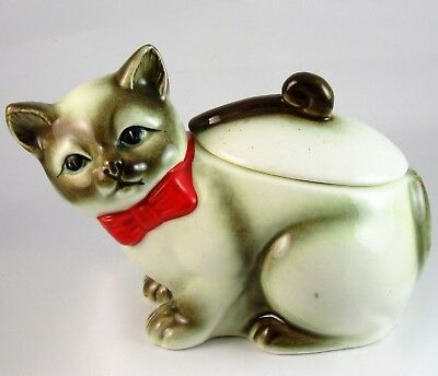 Siamese Cat Ceramic Sugar Bowl with Lid Made in Japan Vintage Trinket Box