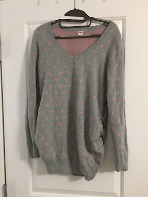 Old Navy Maternity Sweater Grey Pink Polka Dot Size Large EUC