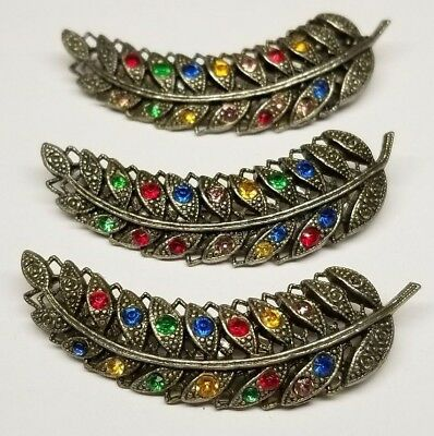 Vintage Art Deco Czech 1930's 40's Multi Colored Rhinestone Feather Brooches Lot