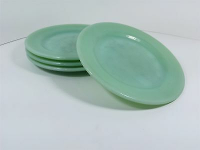 "4 Vtg Fire King Jadite Restaurant Oven Ware 6.75"" Dessert Bread Plates HEAVY USE"