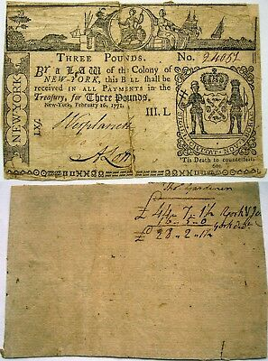 1771 New York 3 Pounds Note, only 6,000 printed, split and backed, but SHARP!