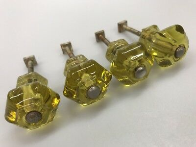 Set of 4 Yellow Pressed Glass Drawer Cabinet Knobs Pulls w/ Hardware