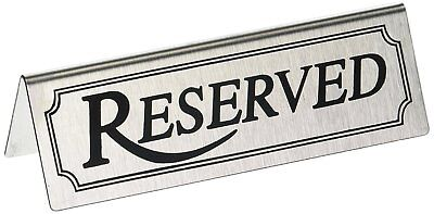 Star 26900 Stainless Steel Reserved Table Sign, 4.75 by 1.5-Inch, Set of 6