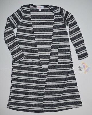 NEW LuLaRoe Sariah Sarah White Heathered Gray Black Striped Sweater Unicorn SZ 8
