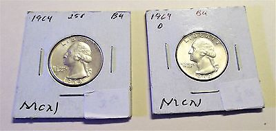 1964 and 1964-D Silver Quarters