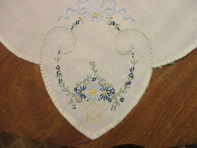 "Hand Sewn Vintage Embroidered Tablecloth  Cutter 32"" by 32"""