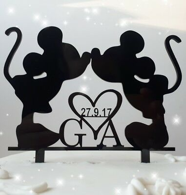 Acrylic initial Mickey Minnie Mouse wedding/ anniversary cake topper decoration