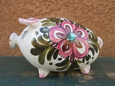 Vintage Piggy Bank Coin Bank Pig Italian Pottery Italy Pink / Floral Design