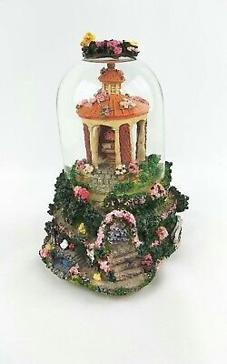 Vintage Music Box Snow Globe Floral Garden-Some Enchanted Evening Butterfly