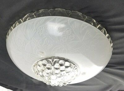 Vintage Art Deco Glass Ceiling Lamp Shade 3 hole Etched Frosted Clear with chain