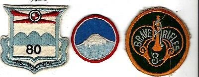 Patches: 80th Div (WWI design), Far East Comm,-KWar, & tough to find 3rd Armor C