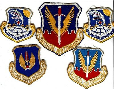 VN War Tactical Air Command patch,  &  4 other Air Force patches, Some used. (5)