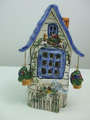 Porcelain Studio Pottery Cottage Candle House Picket Fence by Heather Goldmine