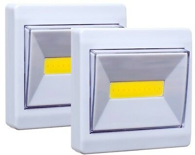 COB LED Wall Switch Wireless Battery Operated Closet Cordless Night Light 2 Pack