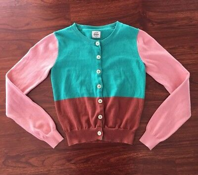 Girls Mini Boden Cardigan Sweater Teal Brown Pink Size 9 10 Years