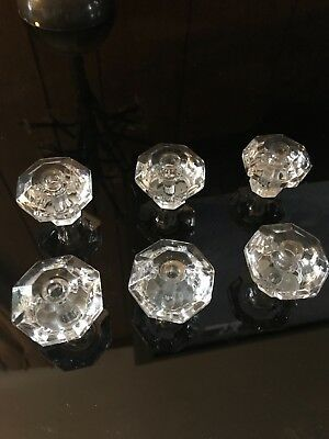 antique lot of six 8 point GLASS CABINET PULL KNOBS