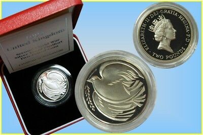 GB. 2 Pound 1995 Silver Proof Piedfort 'End of WWII'