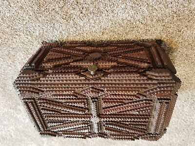 Antique Deeply CarvedFolk Art Tramp Art Trinket Box Dresser Chest Jewelry Spice