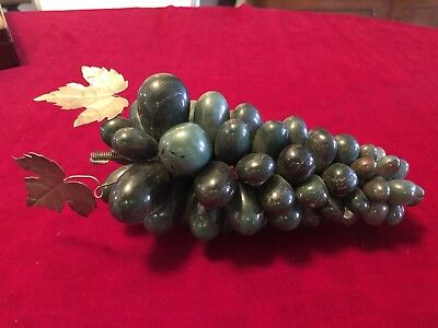 Vintage Carved Stone Dark Green Grape Clusters 8 Inches Long And 3.5 Inches Wide