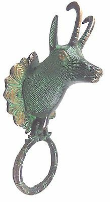 Deer Reindeer Shape Vintage Antique Finish Handmade Brass Door Knocker Door Pull
