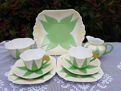 Shelley Apple Green  Flower handle tea service *mixed stamps*