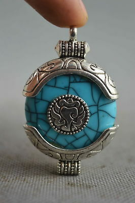 Exquisite Collection Handwork Miao Silver Carve Flower Inlay Agate Lucky Pendant