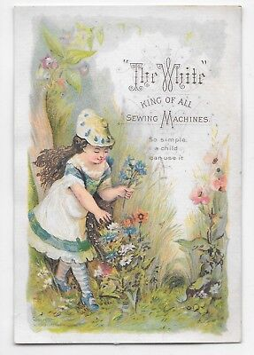 "1800s Victorian Trade Card ""The White"" King of all Sewing Machines Girl Flowers"