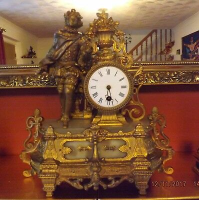 Antique Ornate French 8 Day Gilt and Alabaster Figural Mantle Clock c.1890