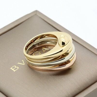 Bvlgari Tri Color 18k Gold Ring Yellow White Rose Gold in Box