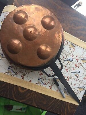 Wrought copper and iron pans for your federal chair display by your fireplace