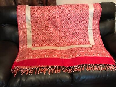 Pakistani Indian Beautiful shawl red and gold colour
