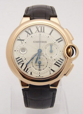 6c224a575c9 Cartier Ballon Bleu Watch 44Mm W6920074 18Kt Rose Gold Leather Box And  Papers
