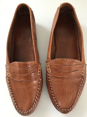 Cole Haan Mens 8 Leather Loafers Made In Italy Light Brown Slip On